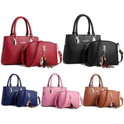 2Pcs Women Satchel Handbags Shoulder Purses Tote PU Leather