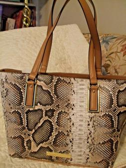 60% OFF NEW WITH TAGS, ANNE KLEIN TOTE HANDBAG, BEIGE, BROWN