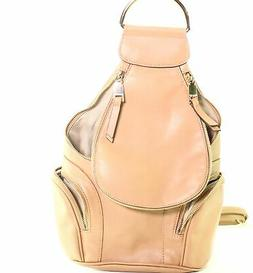 Nine West Beige Gold Valeraine Zip Faux Leather Backpack Han