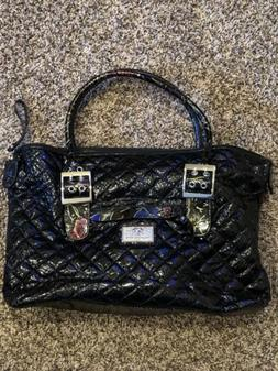 Sharif Black Quilted And Floral Ruffled 1827 Handbag Purse