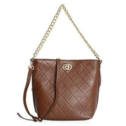 Brown Leather Checker Quilted Pattern Tote Shoulder Handbag