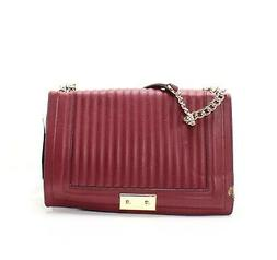 Nine West Burgundy Gold Inaya Faux Leather Quilted Chain Sho