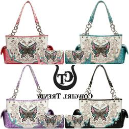 Butterfly Western Style Handbag Concealed Carry Purse Women