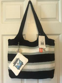 The Sak Casual Classic Valley XL Tote Navy Stripe Crochet Tr