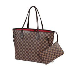 Checkered Tote Shoulder Bag W/ inner pouch Vegan Leather/lux