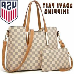 Checkered Tote Shoulder Bag with inner pouch Purses & Handba