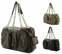 **CLEARANCE SALE** Soft Faux Leather Handbag with Gold Chain