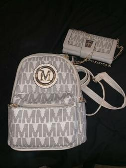 Cream Mini Backpack With Matching Wallet M Logo Super Cute N