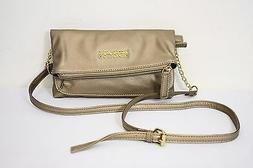KENNETH COLE REACTION CROSS BODY MESSENGER BAG GOLD LEATHER