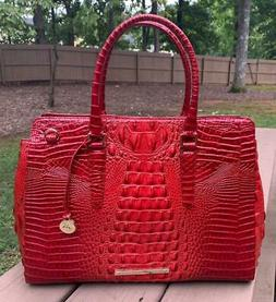 Brahmin Finley Carryall Satchel Lava Red Melbourne Leather $
