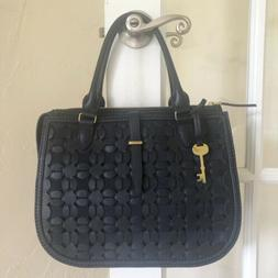Fossil Ryder Woven Leather Satchel Midnight Navy ZB7754406