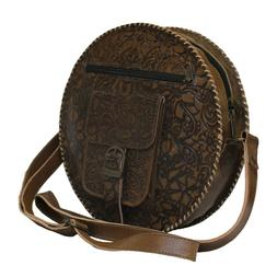 Genuine Leather Round Purse For Women Shoulder Evening Cross