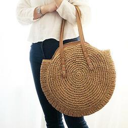 Hand Woven Rattan Straw For Women Bali Basket Round Retro Be