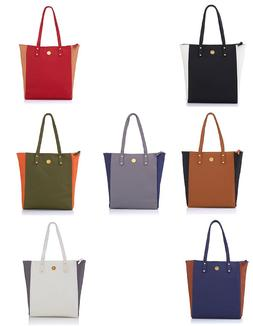 Joy Mangano Handbags Rich Leather Colorblock Tote with Power
