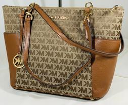 Michael Kors Jet Set E/W  Carryall Tote Beige Brown Leather