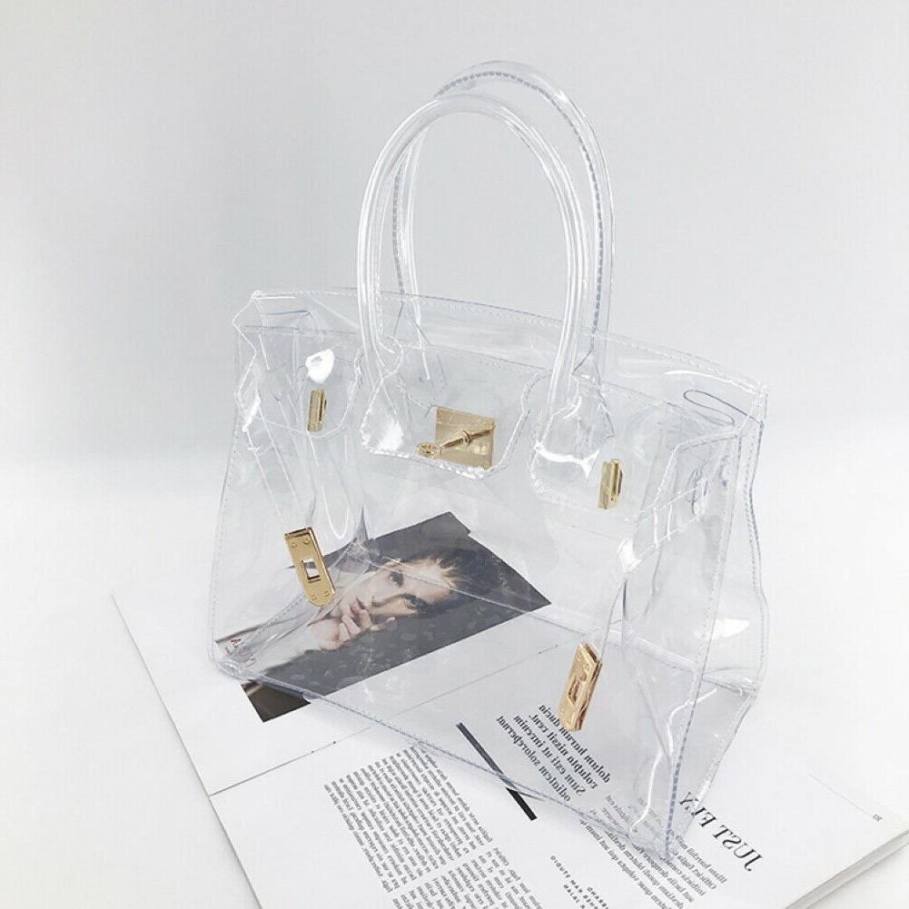 Beautiful PVC Hand bag with Clear Handles Gold Closure