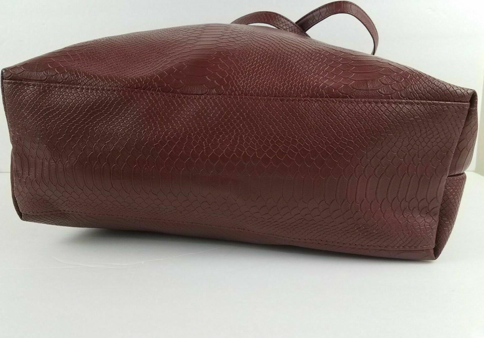 Bloomingdale's Burgundy Faux Leather Tote Bag Shopper