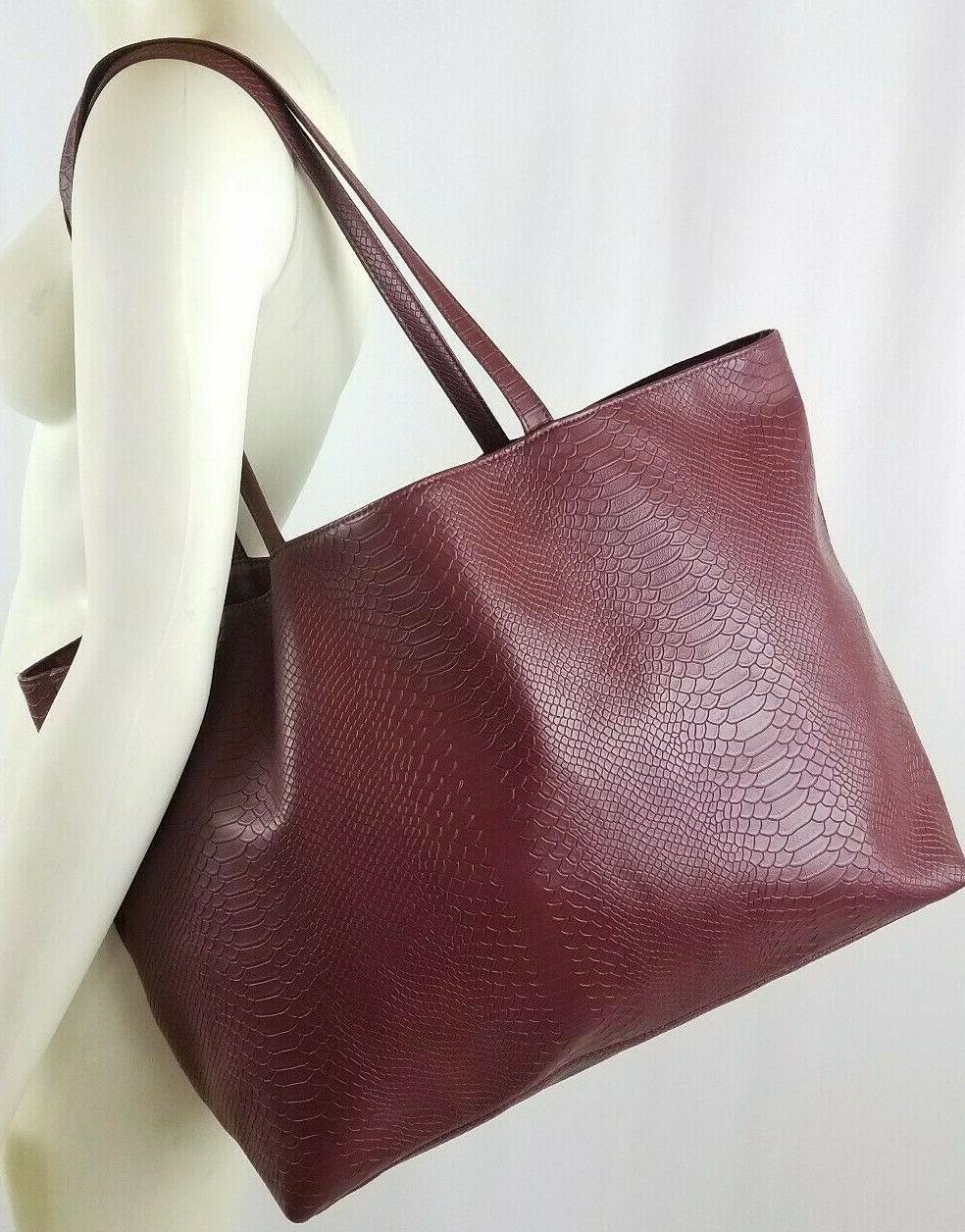 Bloomingdale's Burgundy Faux Snakeskin Leather Bag Shoulder Purse