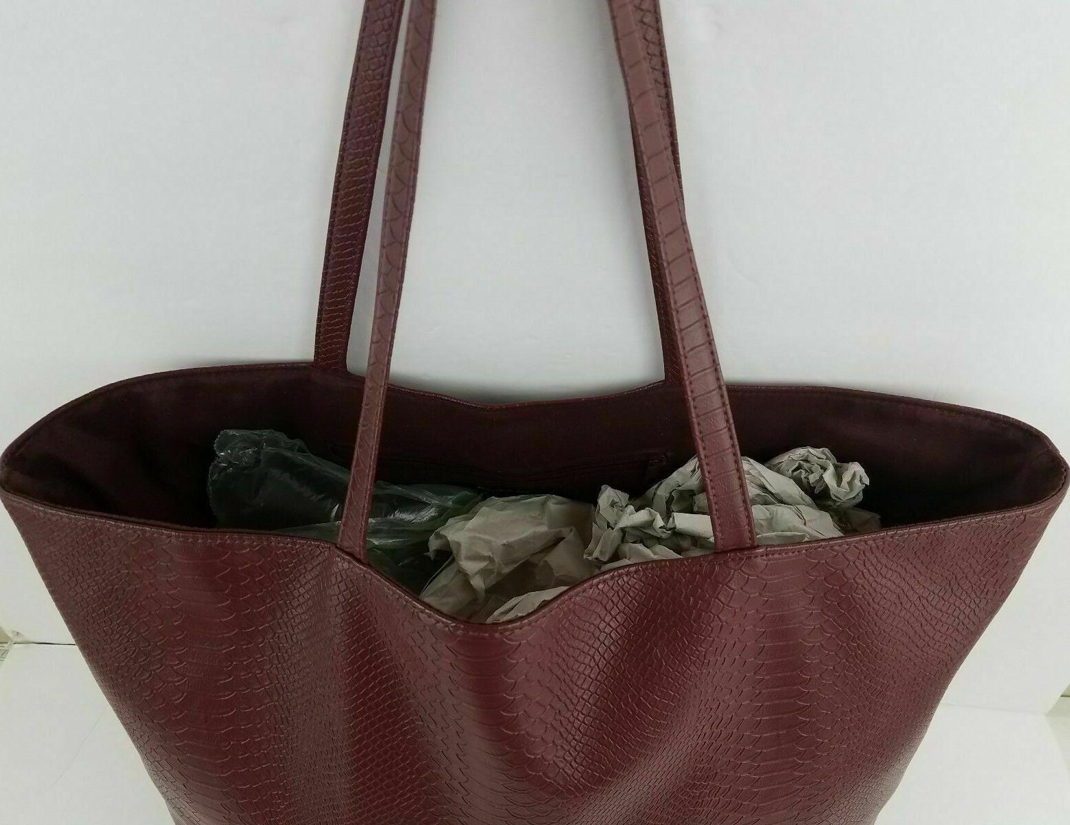 Bloomingdale's Snakeskin Leather Tote Bag Shopper Shoulder
