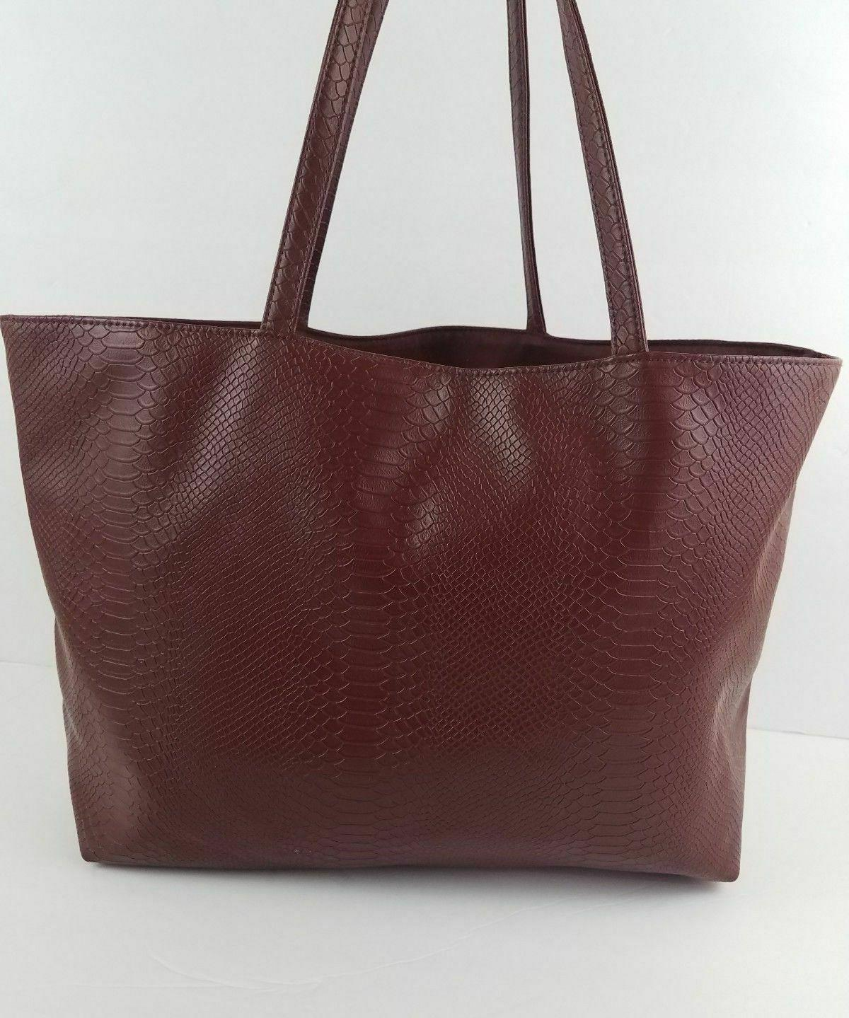 bloomingdale s burgundy faux snakeskin leather tote