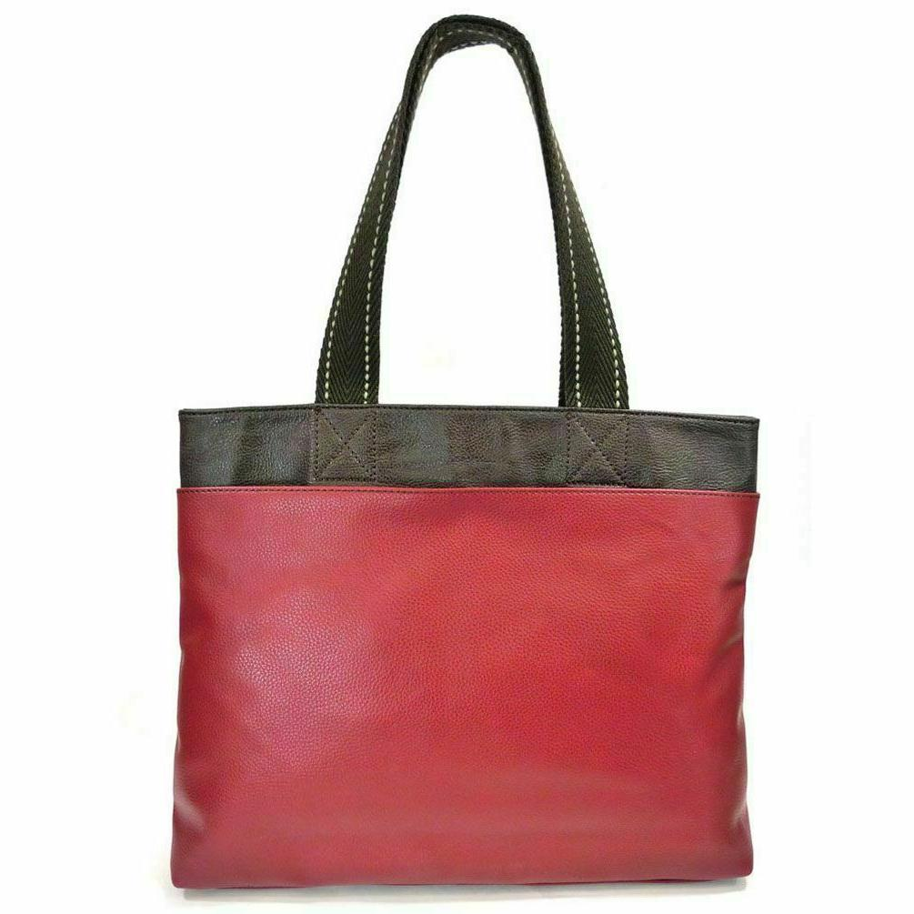 NEW BURGUNDY RACOON BIG FAUX LEATHER SHOPPER