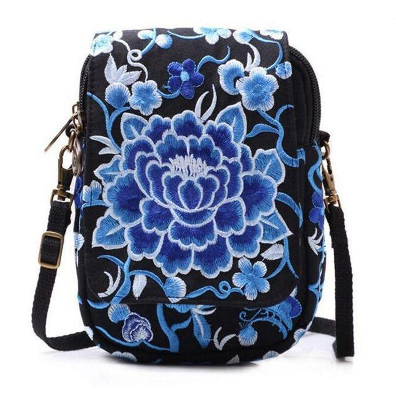 Women Mini Embroidered Bag Messenger Canvas Handbags