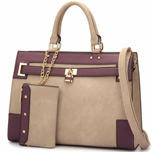 Women Handbags Work Padlock Tote Bag Purse Wallet
