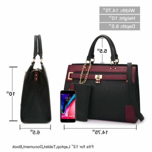 Women Handbags Work Padlock Tote Bag with Wallet