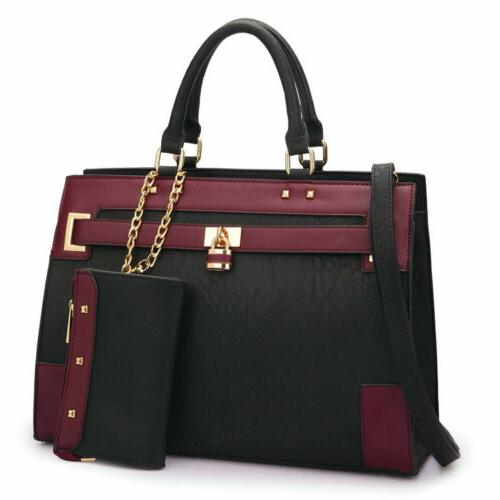 new womens handbags faux leather work padlock