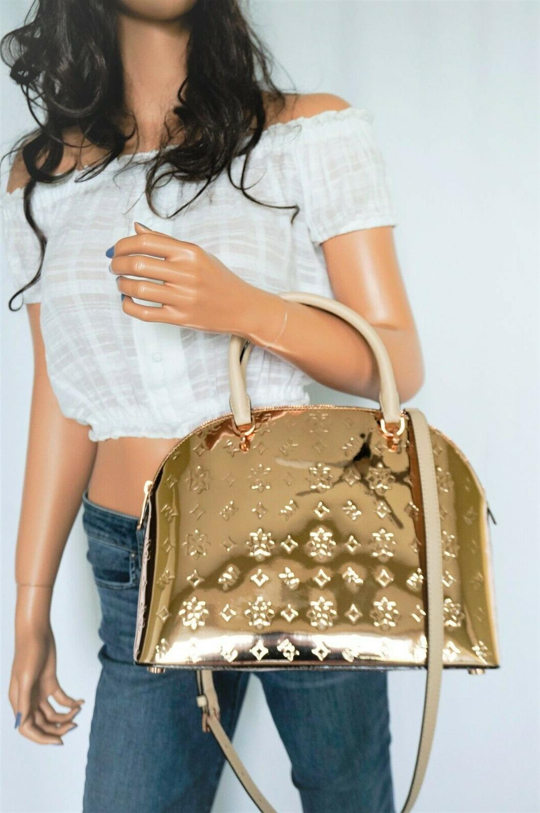 NWT Dome Large Mirror Satchel Gold
