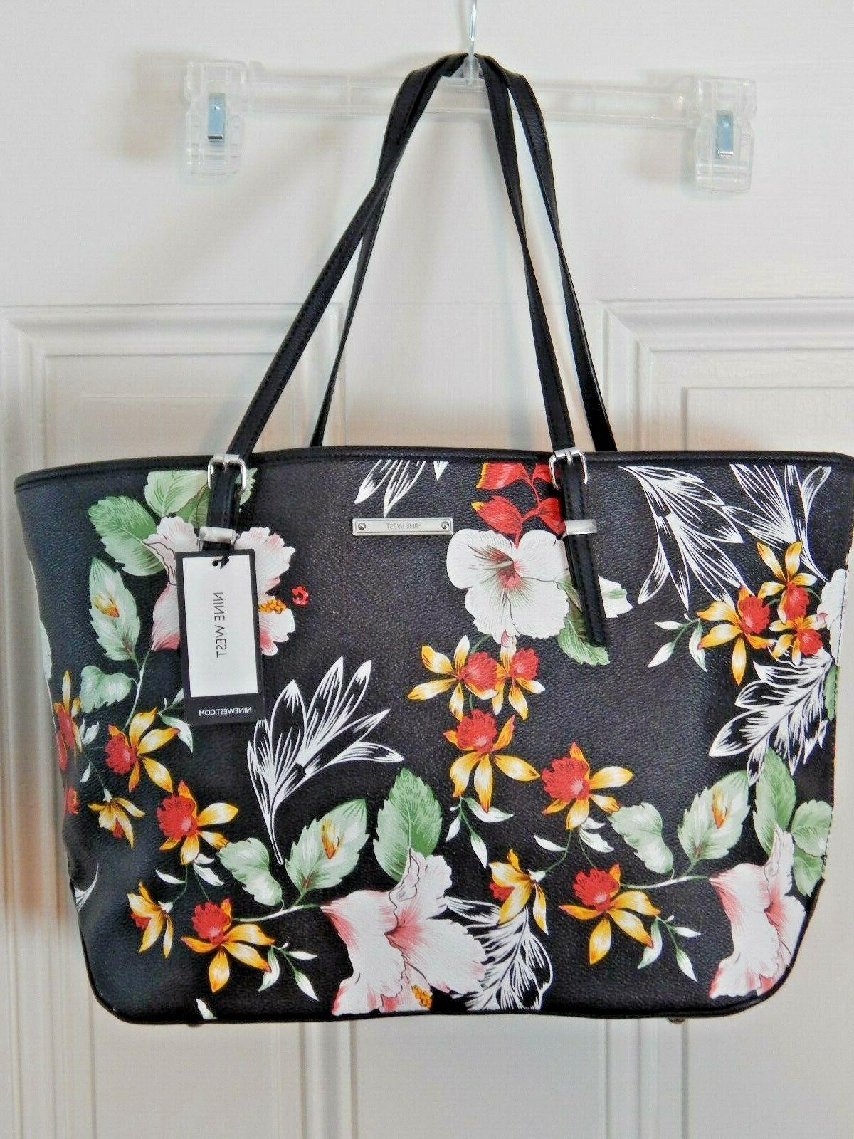 nwt it girl large black floral tote