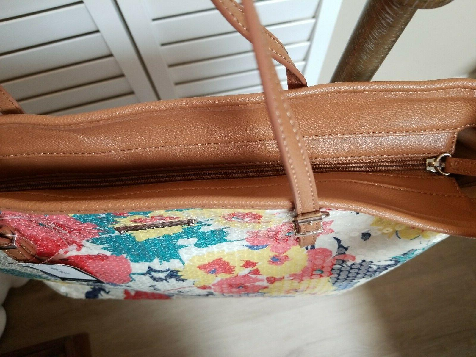 """NWT WEST Floral Tote Purse """"It Girl"""" Red Bag"""