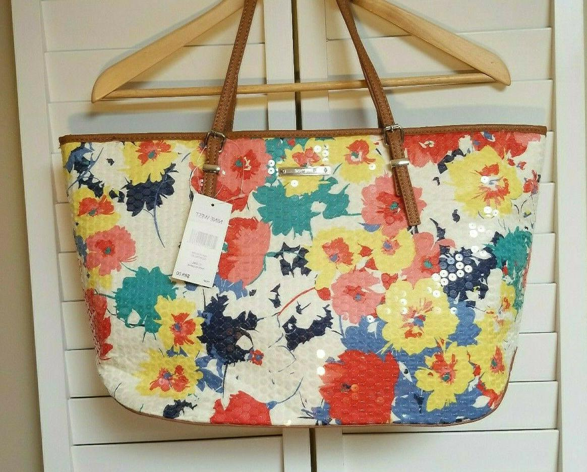 """NWT NINE WEST Floral Tote Purse Girl"""" Shopper Yellow Red Bag"""