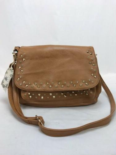 nwt women s brown faux leather studded