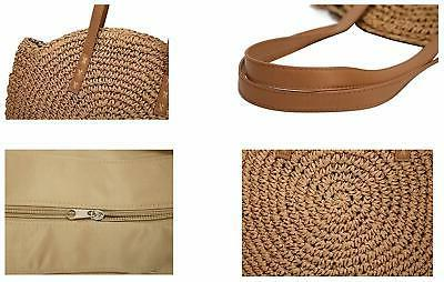 Molodo Round Straw Large Purse For Vocation Tote Handbags