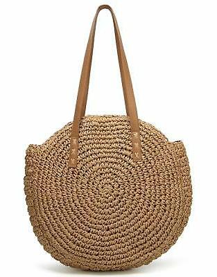 round summer straw large woven bag purse