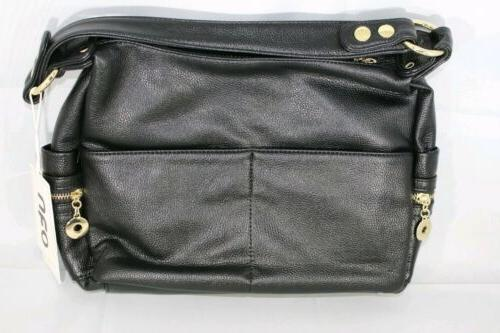 synthetic faux leather hand bag purse black