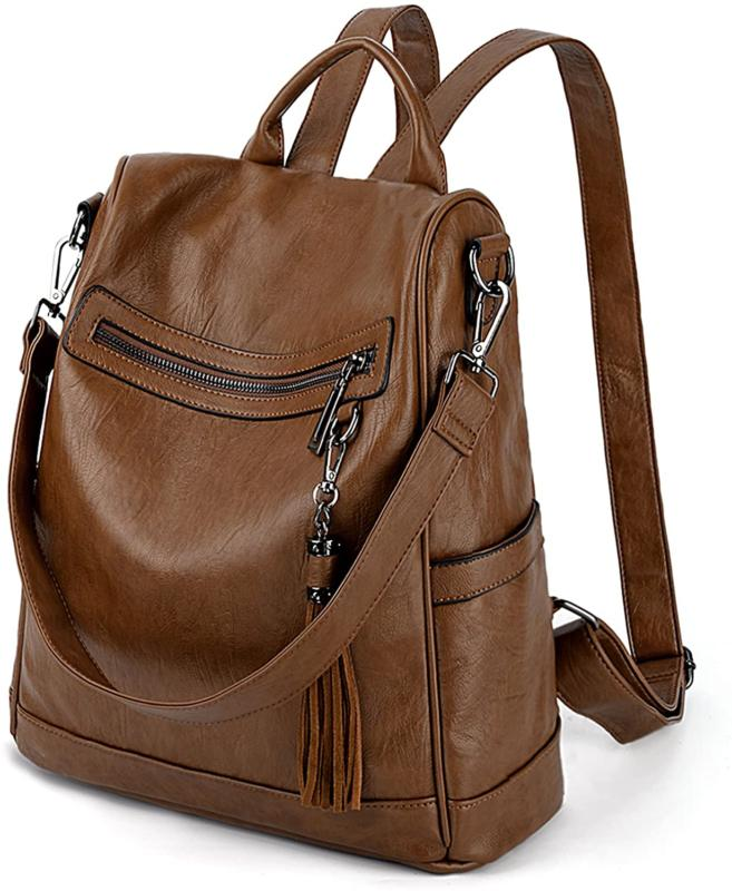 Uto Women Anti-Theft Backpack Purse Pu Washed Leather Ladies