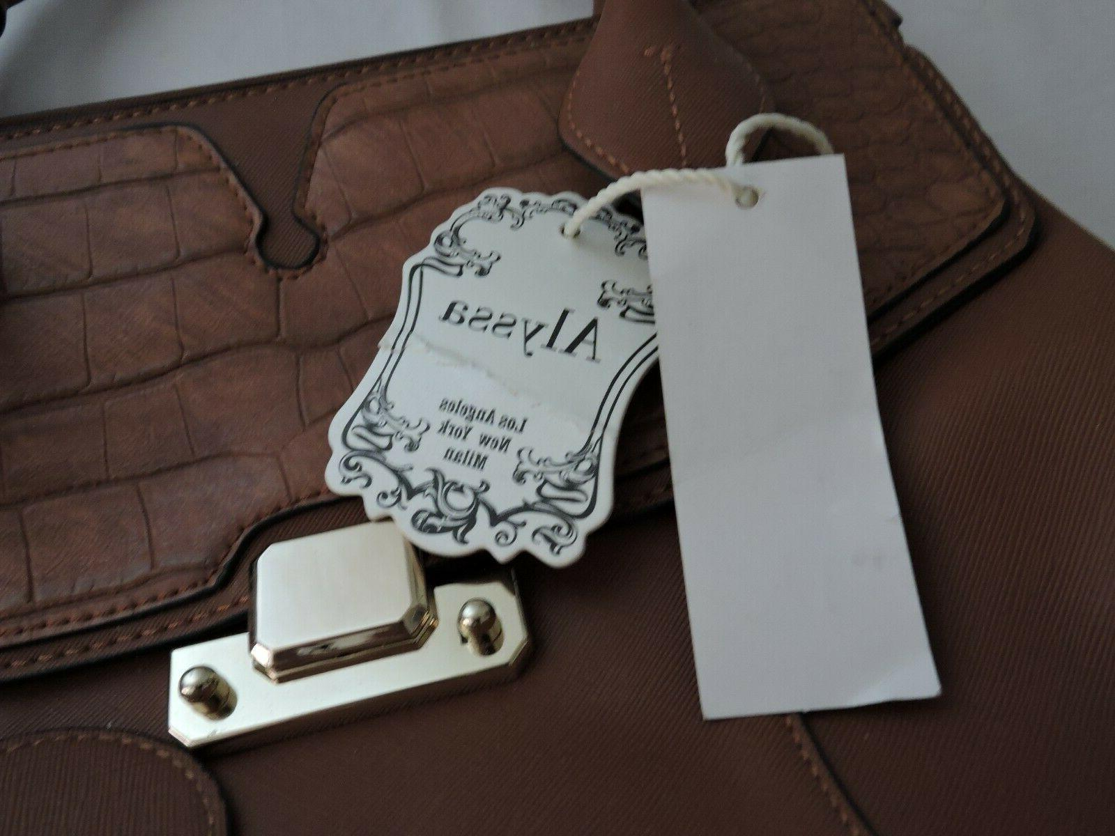 Alyssa Lead Brown Faux Leather Hand NWT