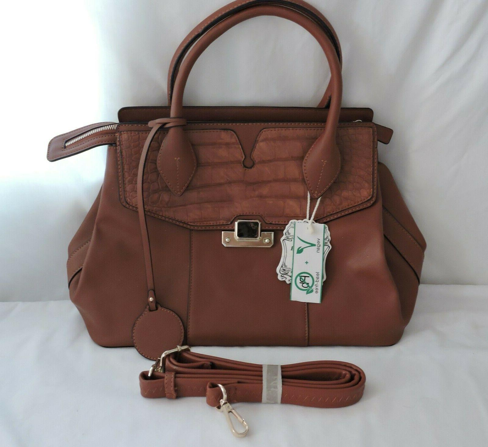 vegan lead free brown faux leather tote