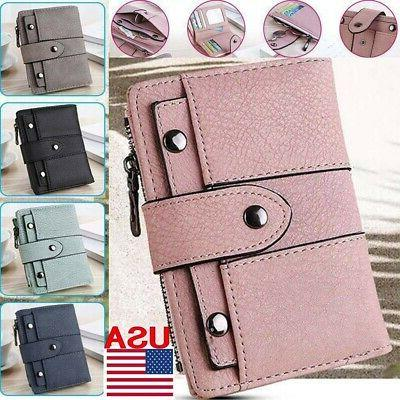 women girl short wallet leather small clutch