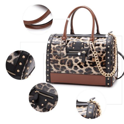 Women Patent Faux Leather Barrel Tote Bags