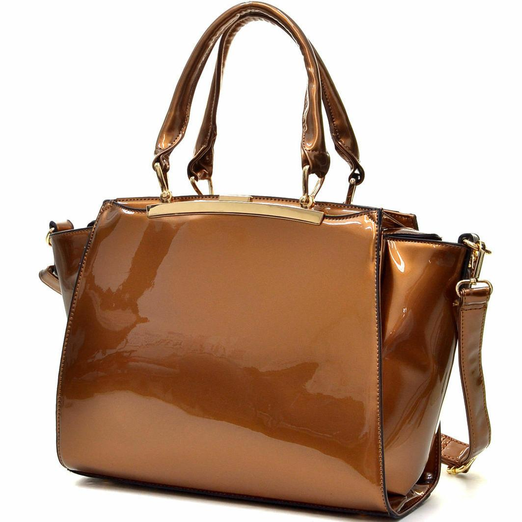womens handbags faux patent leather satchel tote