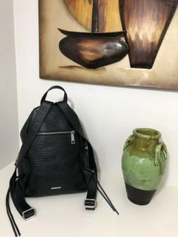 REBECCA MINKOFF Large Julian Backpack Leather BLACK with Sil