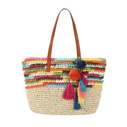 Daisy Rose Large Straw Beach Tote Bag with Pom Poms and Inne