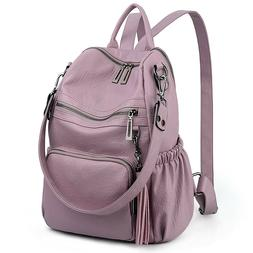 UTO Lavender Backpack Purse PU Washed Leather Convertible Ru