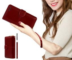 Leather Wallet for Women, Phone Passport Clutch Purse With G