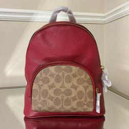 NEW $295 Coach Carrie 23 Red Brown Colorblock Signature Leat