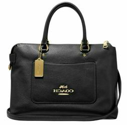 New Coach 31467 Emma Pebble Leather Satchel handbag Black