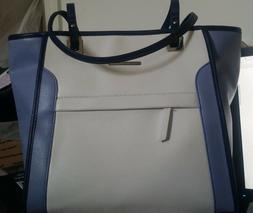NEW NINE WEST BLUE/WHITE MIX TOTE BAG FOR WOMEN